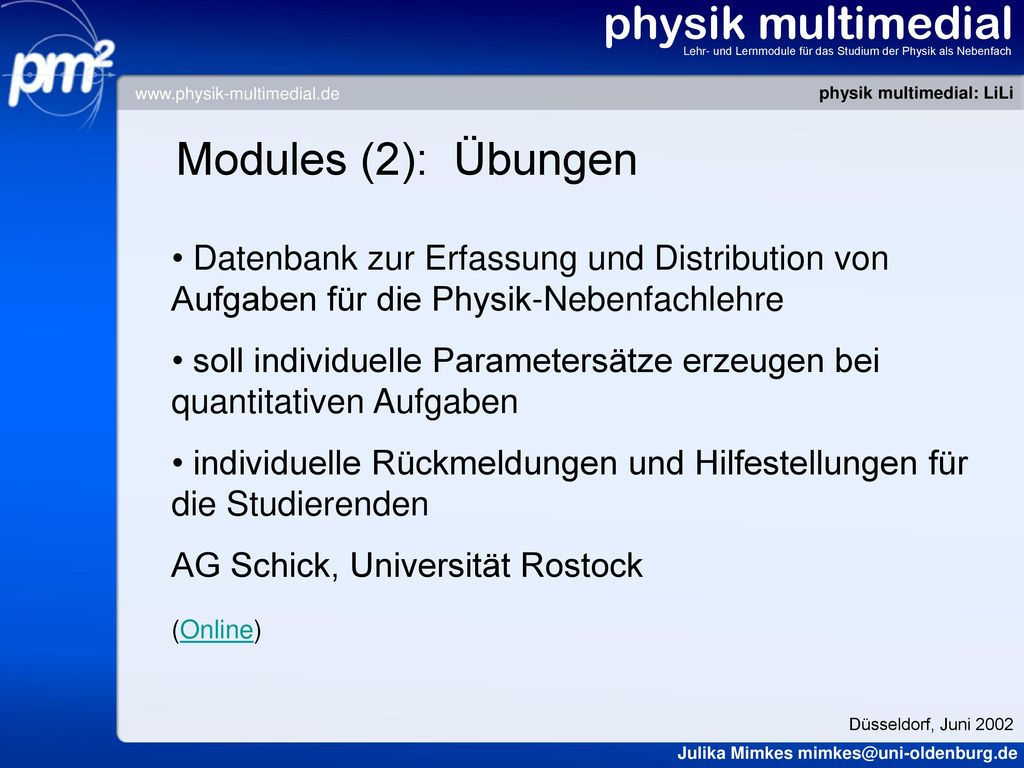 physik multimedial Modules (2): Übungen