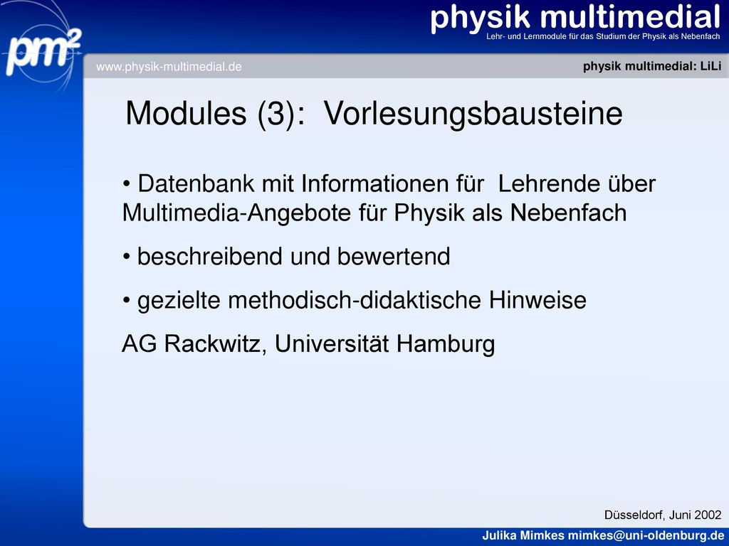 Modules (3): Vorlesungsbausteine