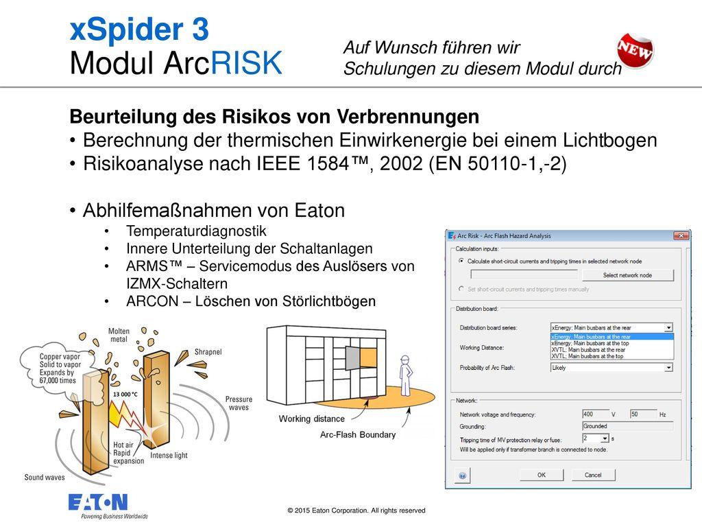 xSpider 3 Modul ArcRISK Beurteilung des Risikos von Verbrennungen
