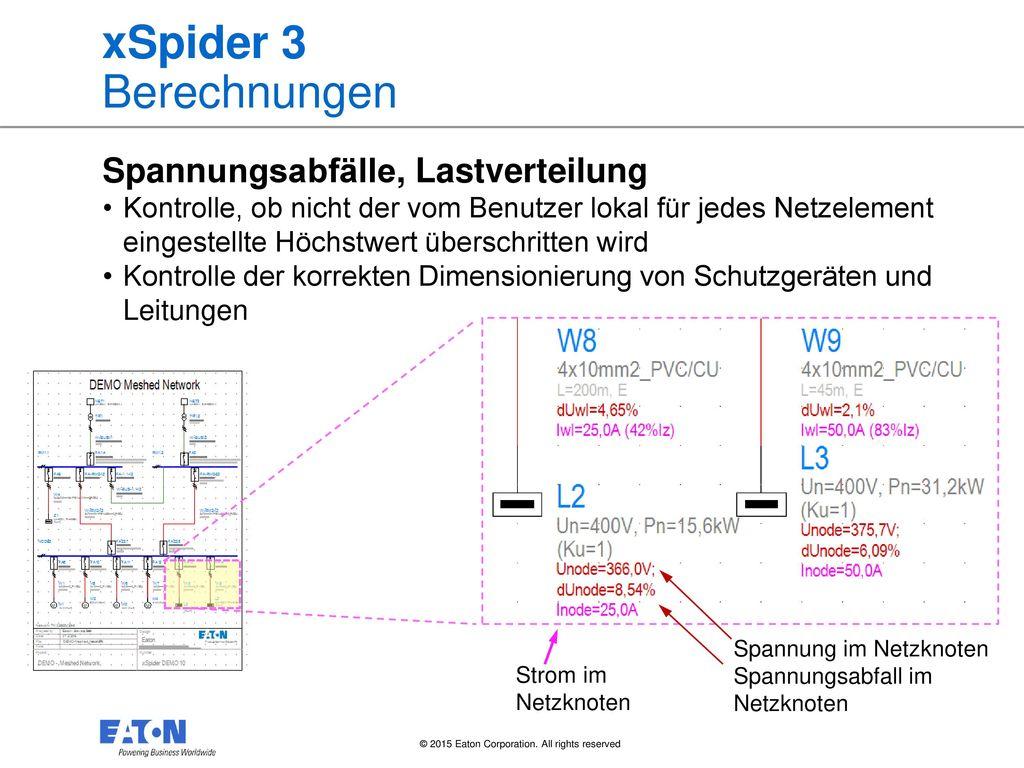 xSpider 3 Berechnungen Spannungsabfälle, Lastverteilung