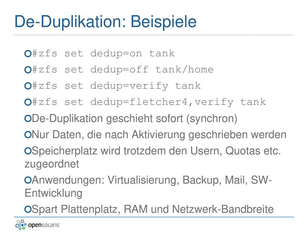 De-Duplikation: Beispiele