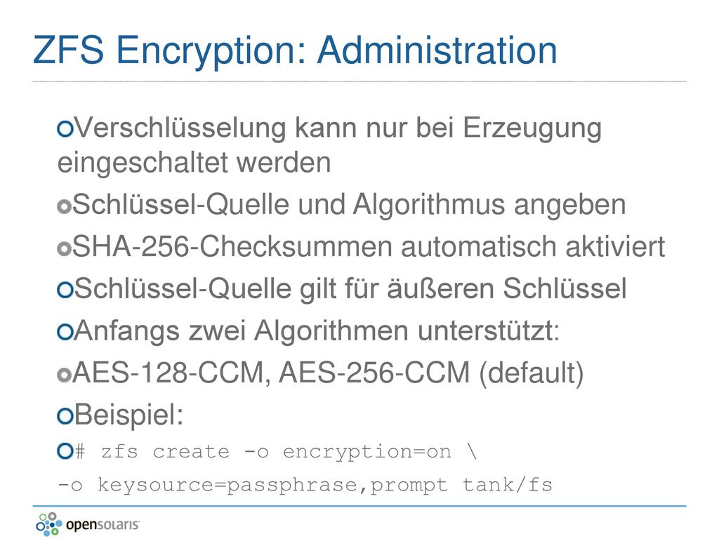 ZFS Encryption: Administration