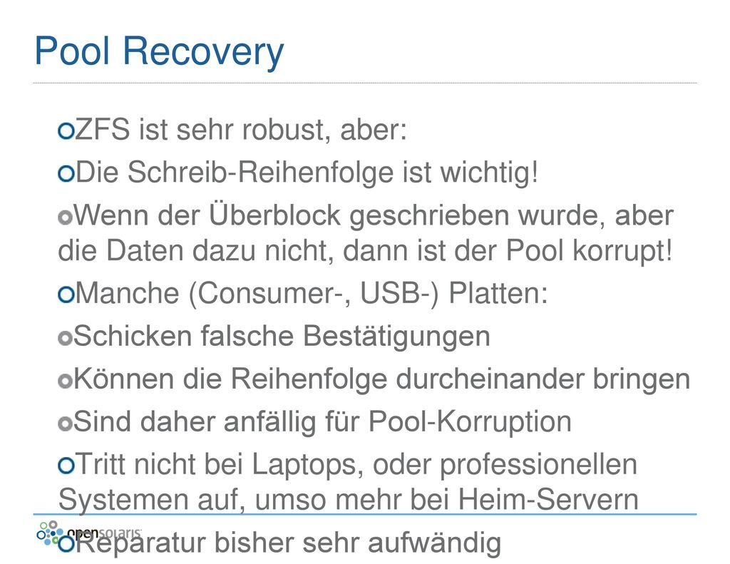 Pool Recovery ZFS ist sehr robust, aber: