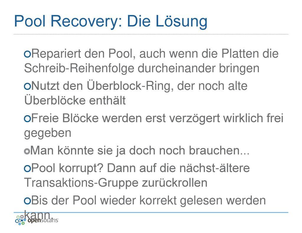 Pool Recovery: Die Lösung