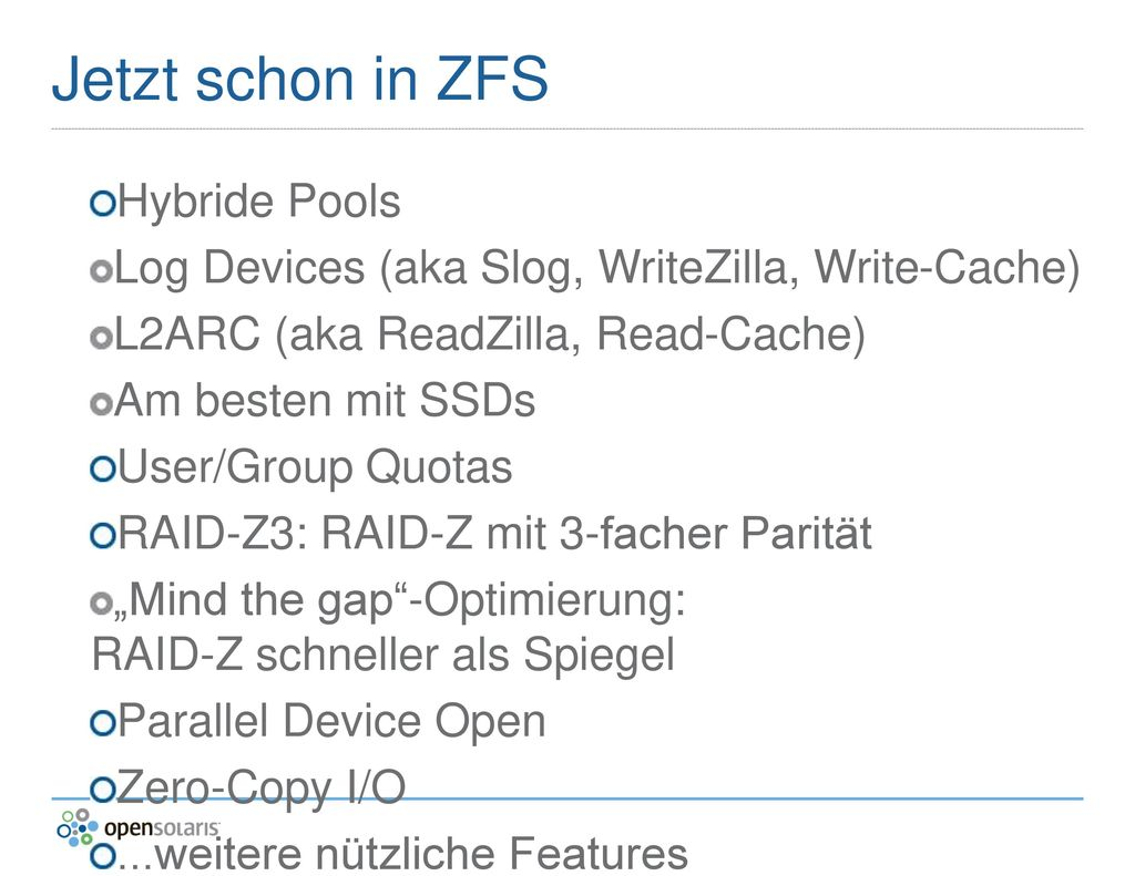 Jetzt schon in ZFS Hybride Pools