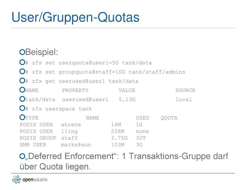 User/Gruppen-Quotas Beispiel: