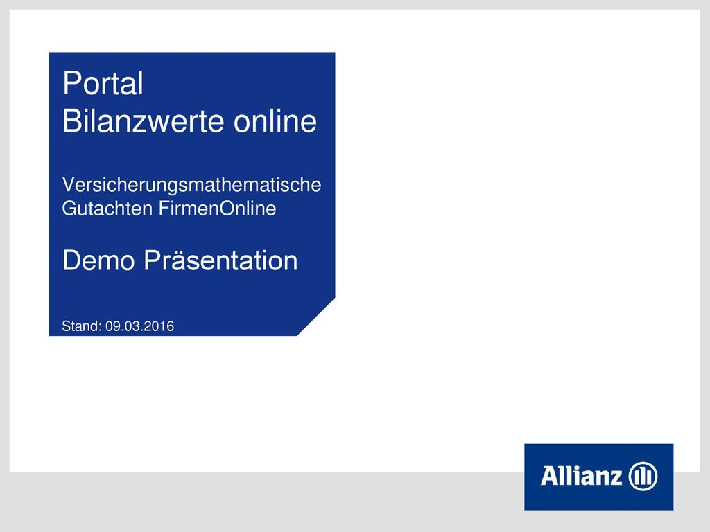 Portal Bilanzwerte online Versicherungsmathematische Gutachten FirmenOnline Demo Präsentation