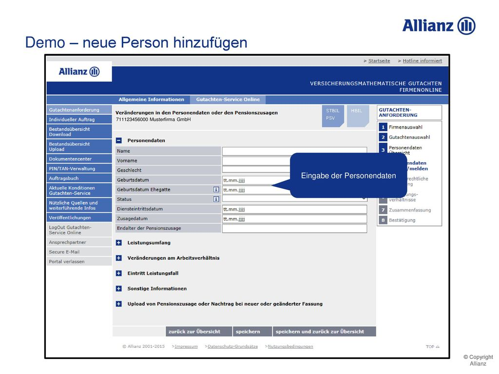 Eingabe der Personendaten