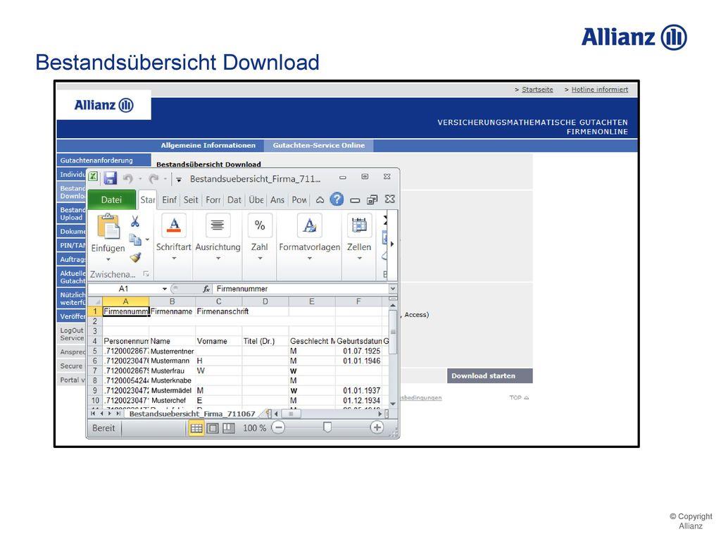 Bestandsübersicht Download