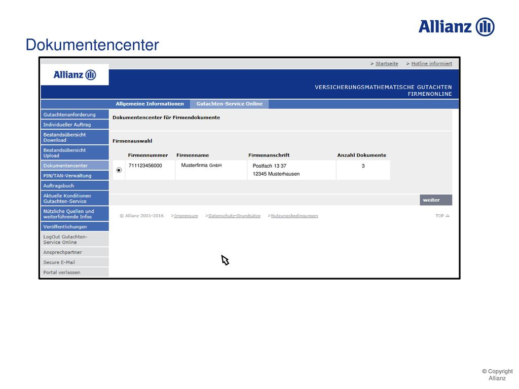 Dokumentencenter 711123456000 Musterfirma GmbH Postfach 13 37
