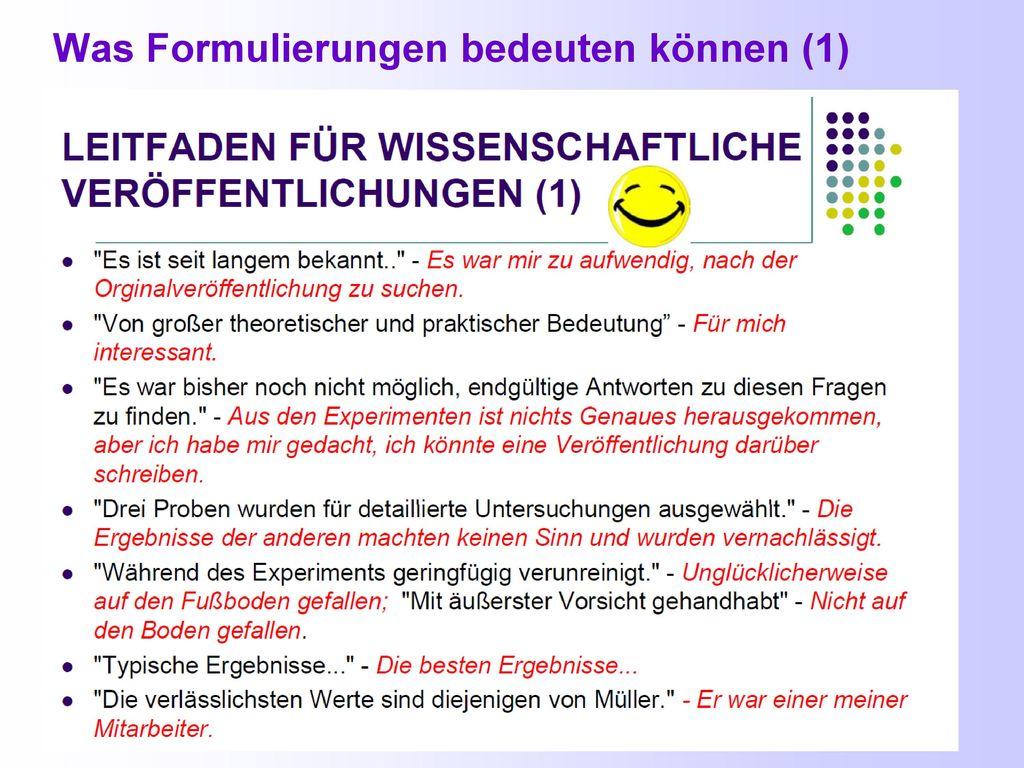 Was Formulierungen bedeuten können (1)