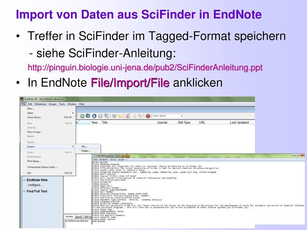 Import von Daten aus SciFinder in EndNote