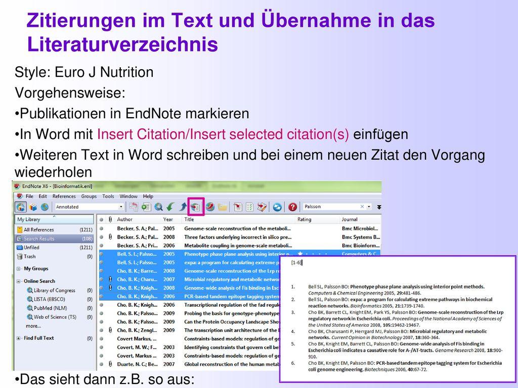 Zitierungen im Text und Übernahme in das Literaturverzeichnis