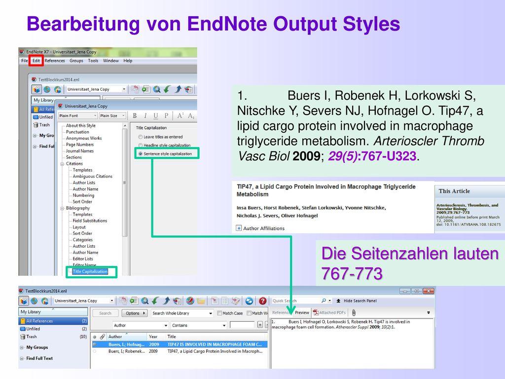 Bearbeitung von EndNote Output Styles