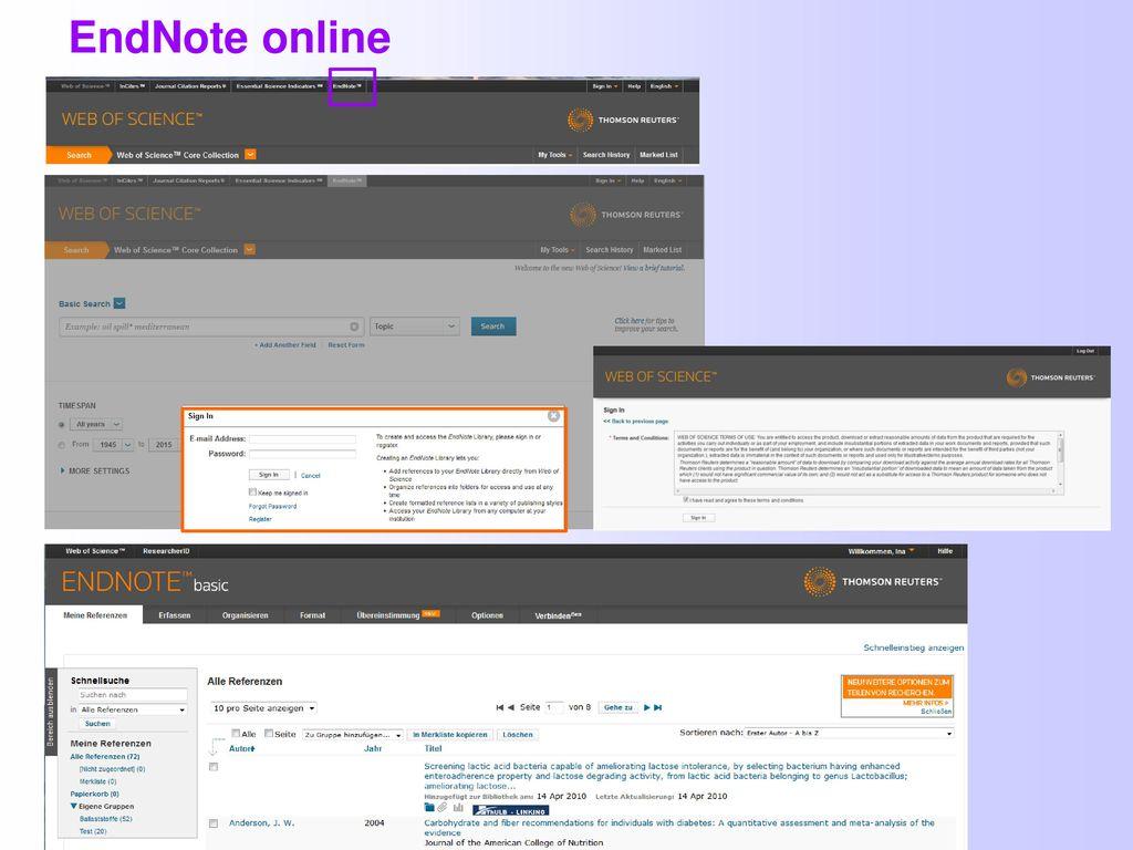 EndNote online Im Web of Science kann man die Publikationen auch in EndNote online speichern.