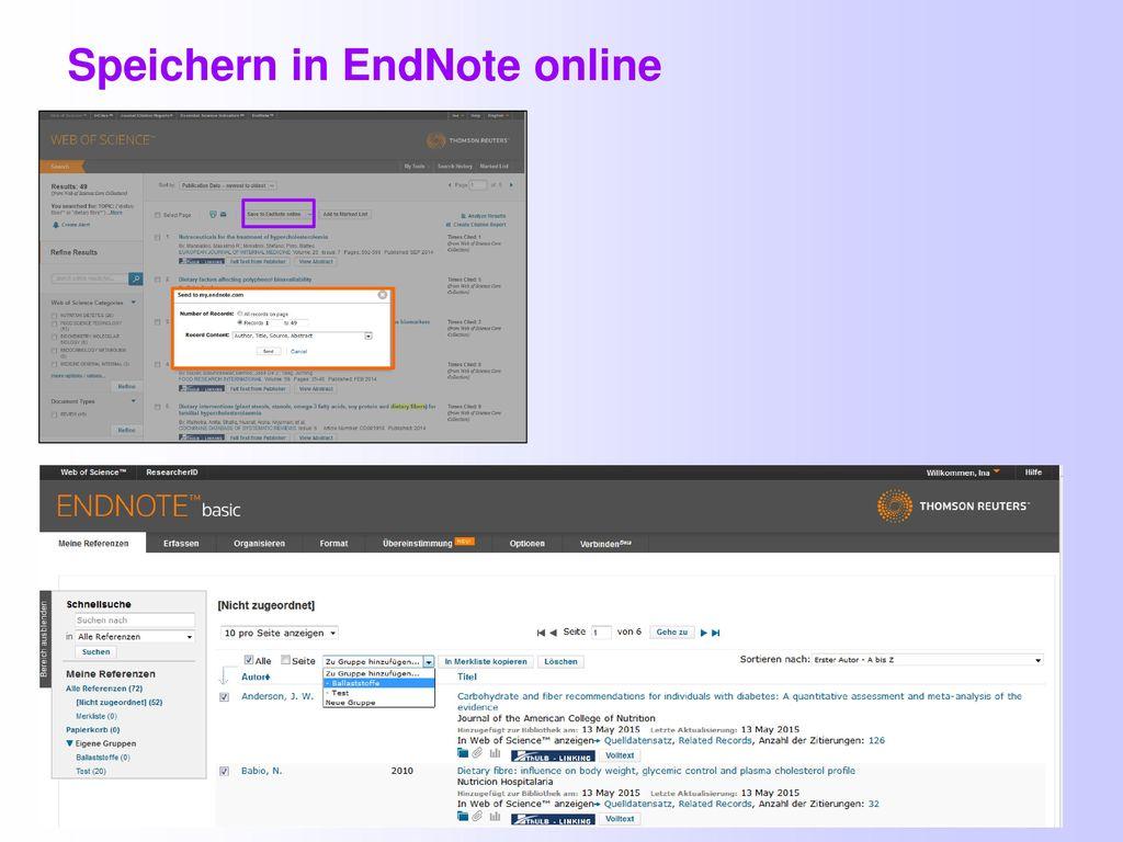 Speichern in EndNote online