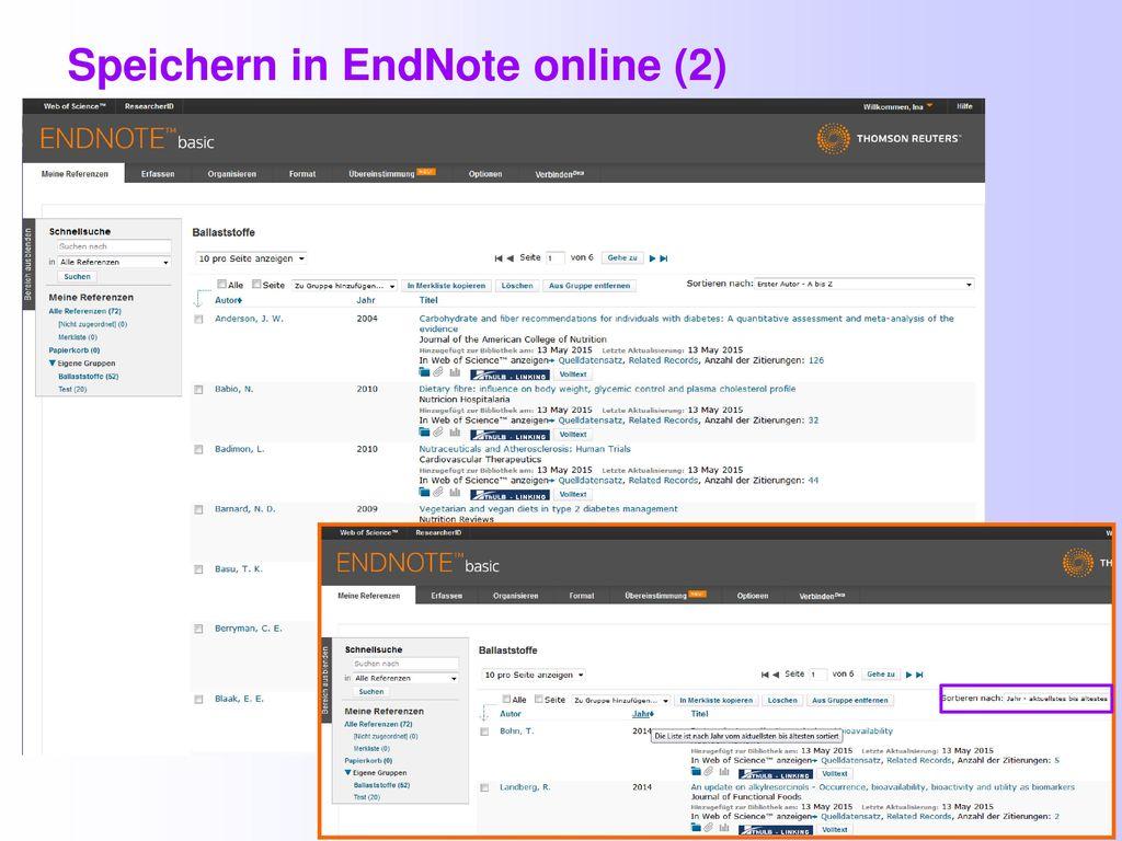 Speichern in EndNote online (2)