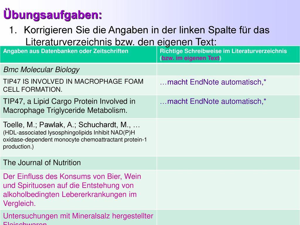 Übungsaufgaben: Korrigieren Sie die Angaben in der linken Spalte für das. Literaturverzeichnis bzw. den eigenen Text: