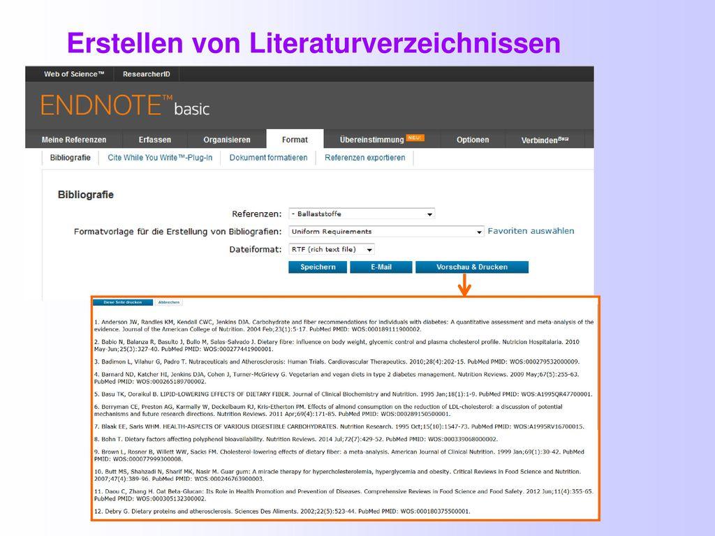 Erstellen von Literaturverzeichnissen