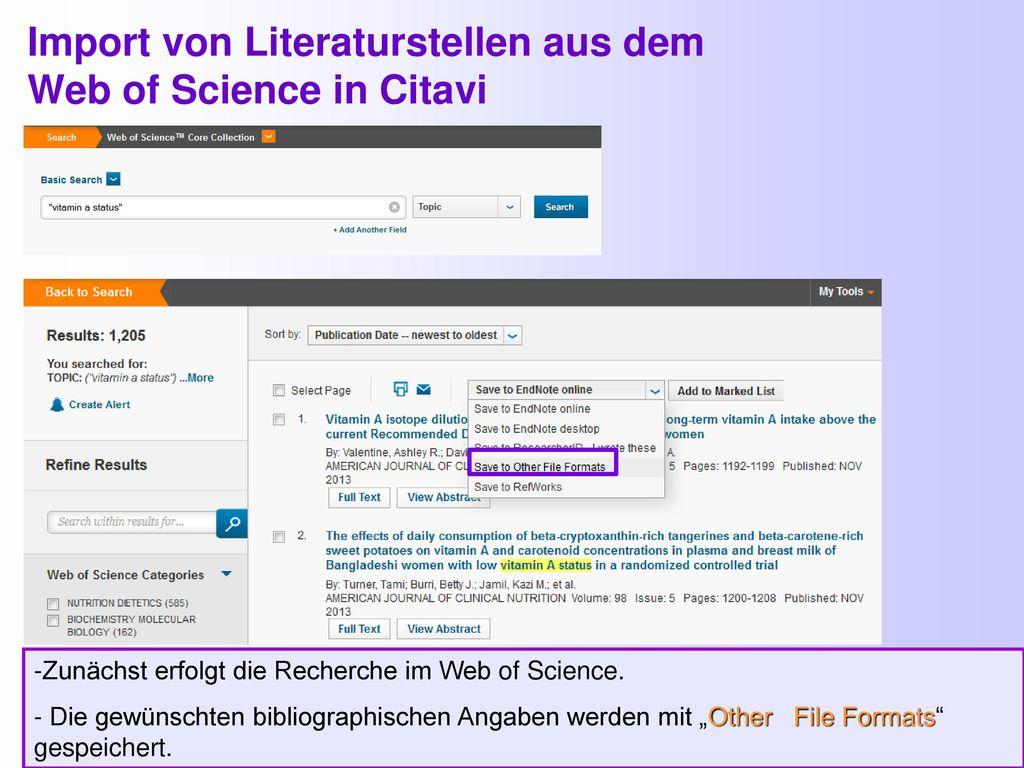 Import von Literaturstellen aus dem Web of Science in Citavi