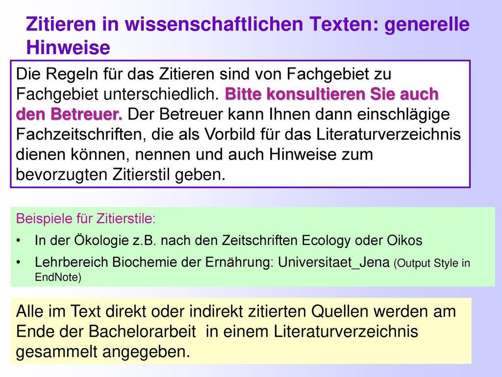 Zitieren in wissenschaftlichen Texten: generelle Hinweise