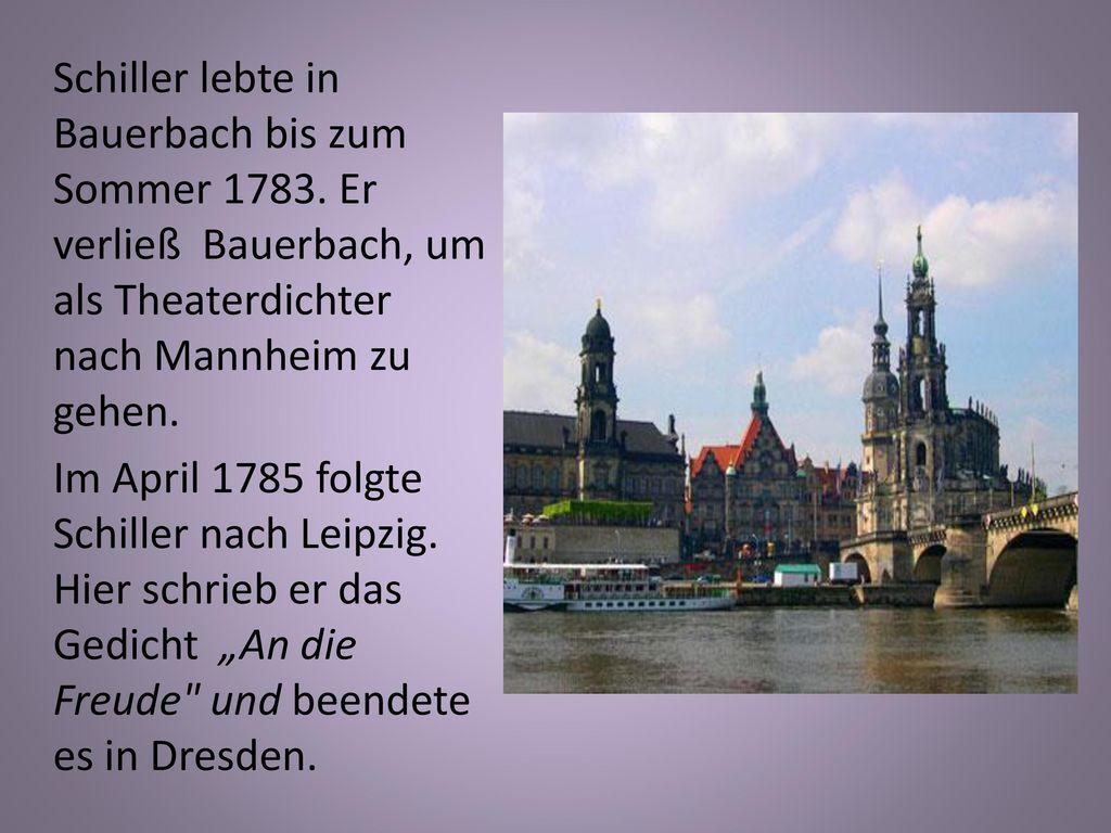 Schiller lebte in Bauerbach bis zum Sommer 1783