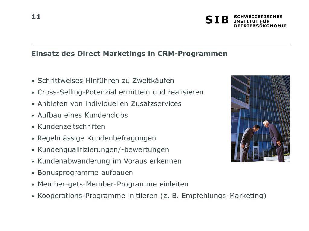 Einsatz des Direct Marketings in CRM-Programmen