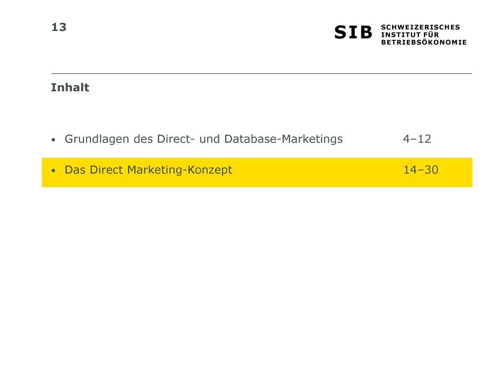 Inhalt Grundlagen des Direct- und Database-Marketings 4–12 Das Direct Marketing-Konzept 14–30