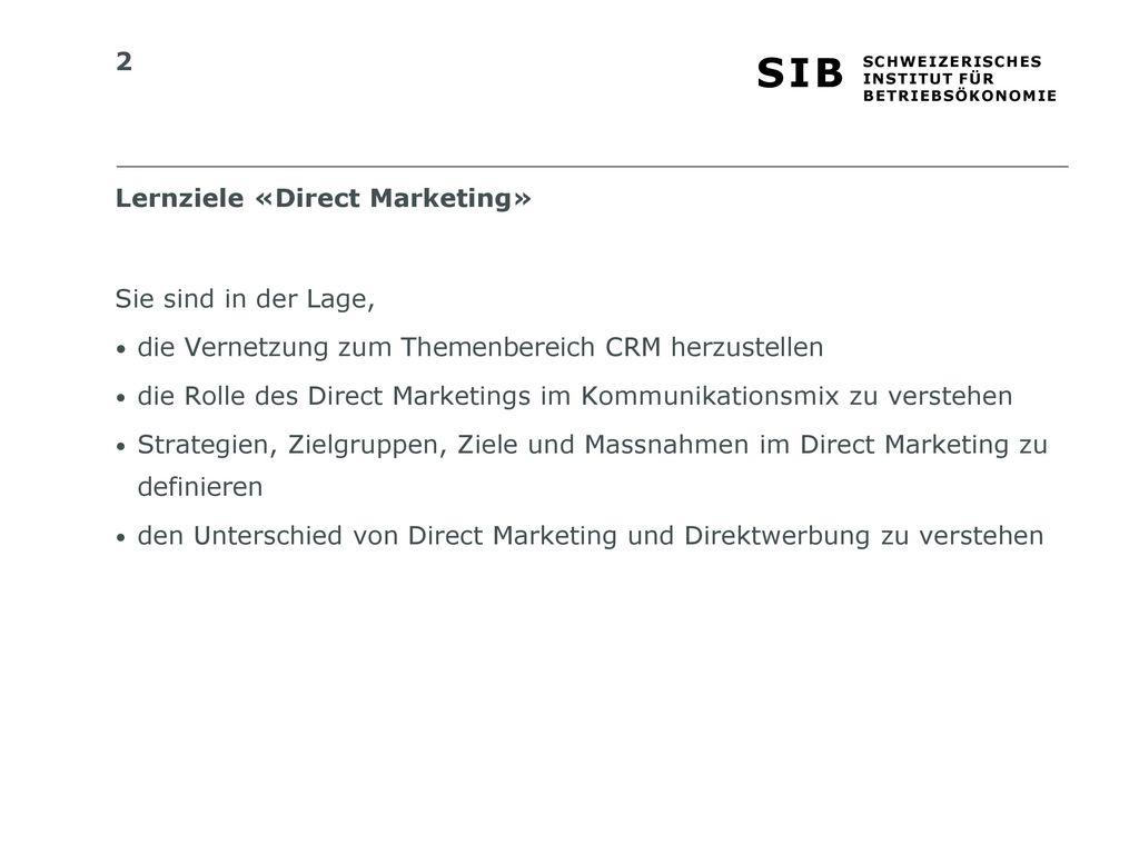 Lernziele «Direct Marketing»