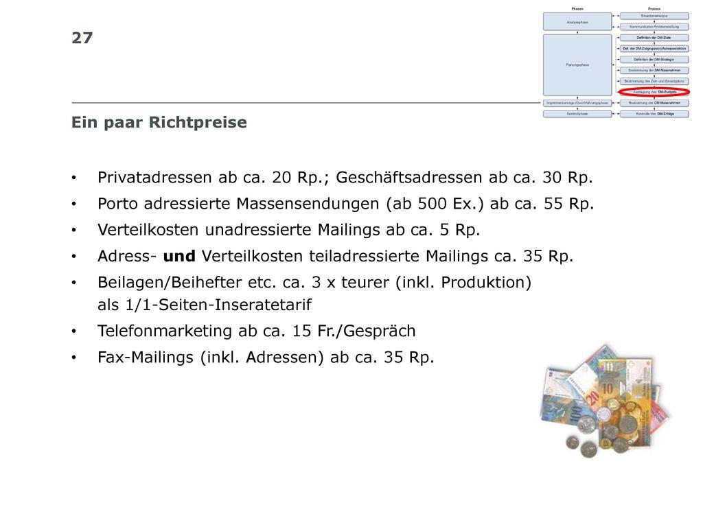 Ein paar Richtpreise Privatadressen ab ca. 20 Rp.; Geschäftsadressen ab ca. 30 Rp. Porto adressierte Massensendungen (ab 500 Ex.) ab ca. 55 Rp.