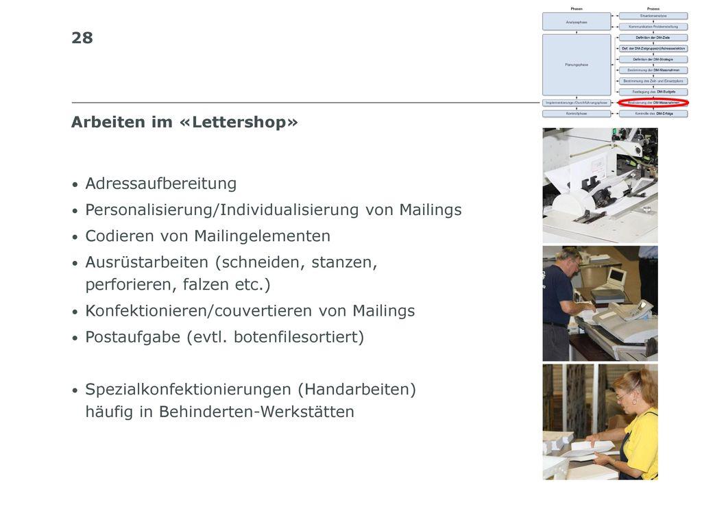 Arbeiten im «Lettershop»