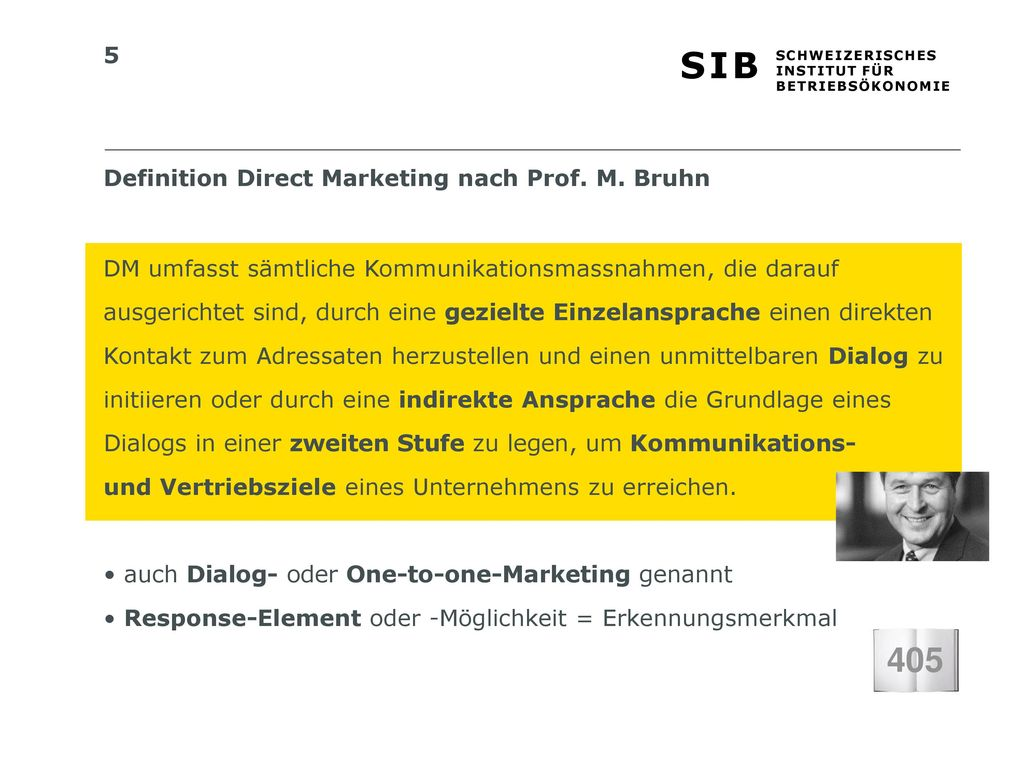 405 Definition Direct Marketing nach Prof. M. Bruhn