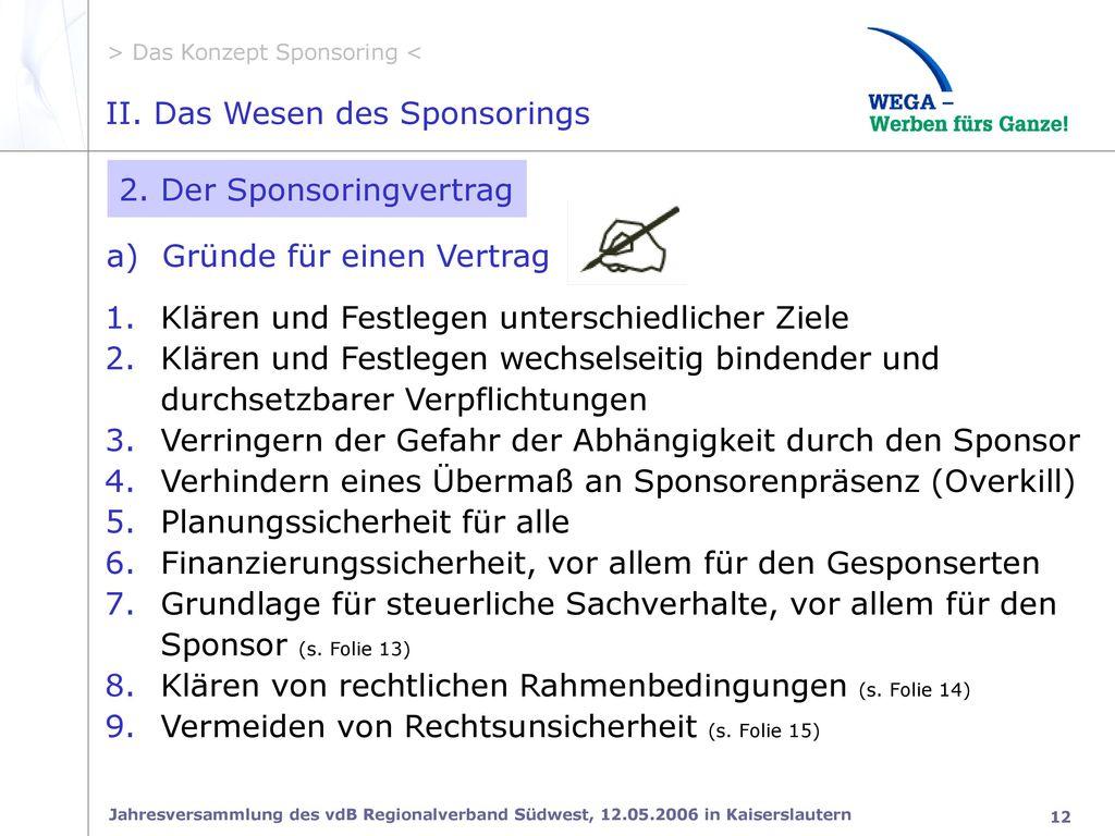 II. Das Wesen des Sponsorings