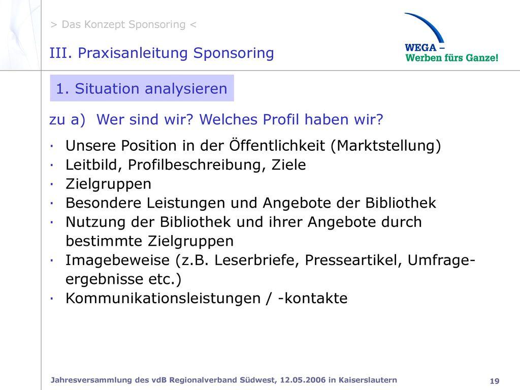 III. Praxisanleitung Sponsoring