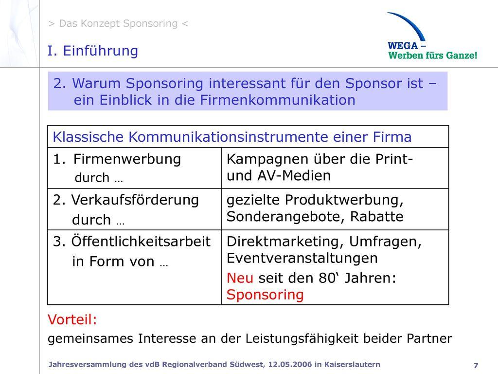 2. Warum Sponsoring interessant für den Sponsor ist –