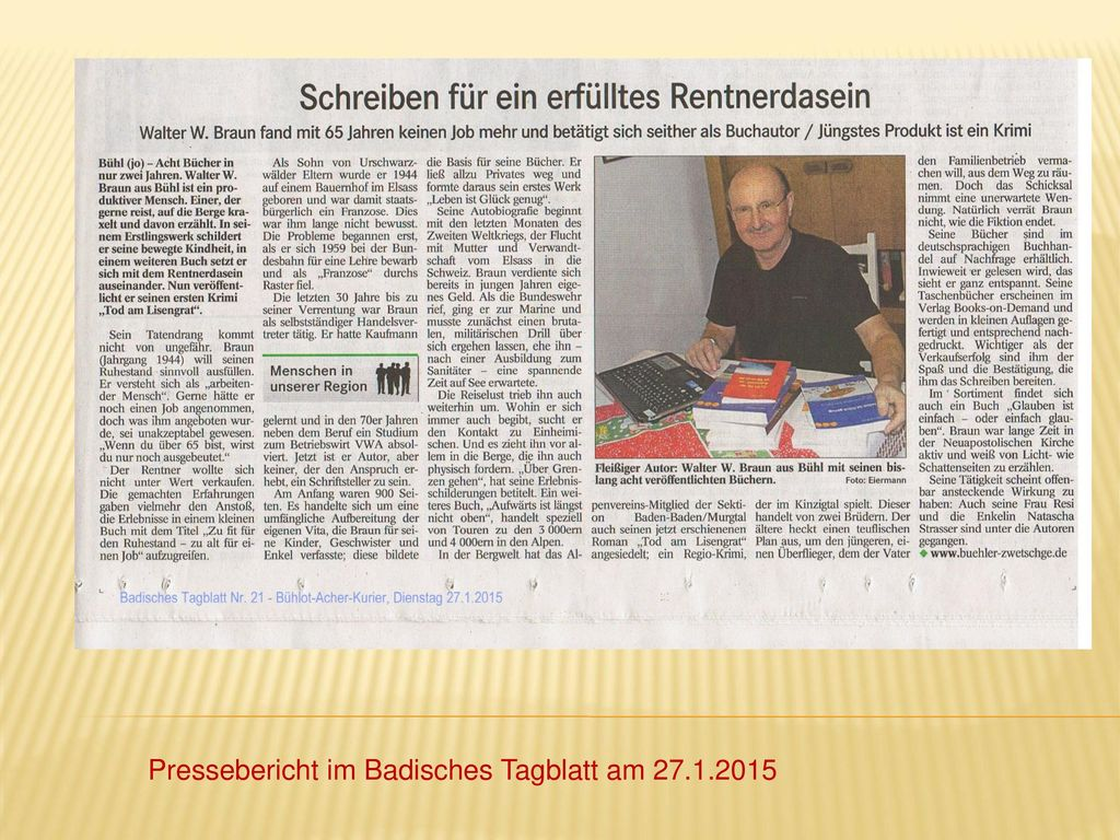 Pressebericht im Badisches Tagblatt am 27.1.2015