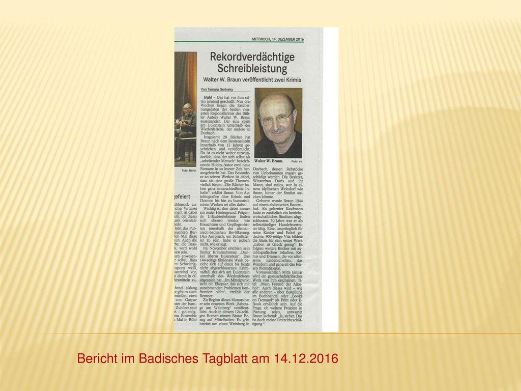 Bericht im Badisches Tagblatt am 14.12.2016