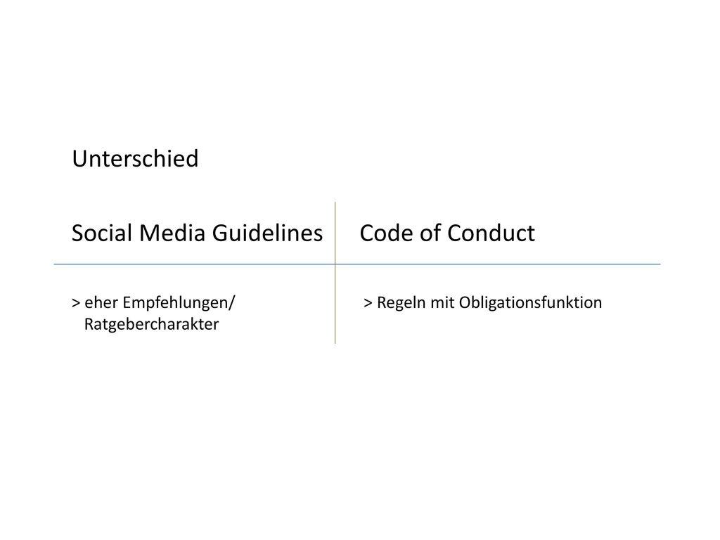 Unterschied Social Media Guidelines Code of Conduct > eher Empfehlungen/ > Regeln mit Obligationsfunktion Ratgebercharakter.