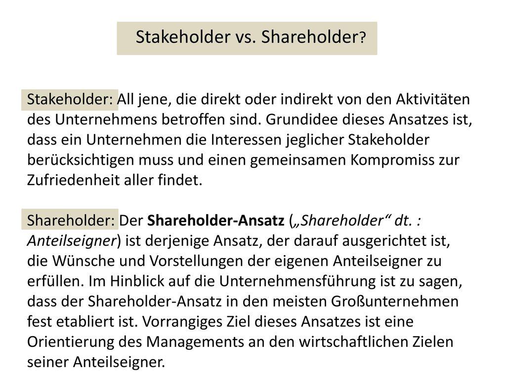 Stakeholder vs. Shareholder