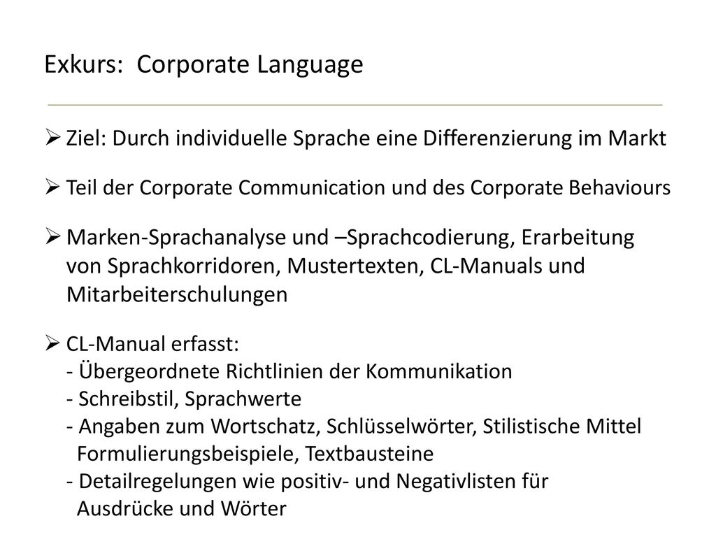 Exkurs: Corporate Language