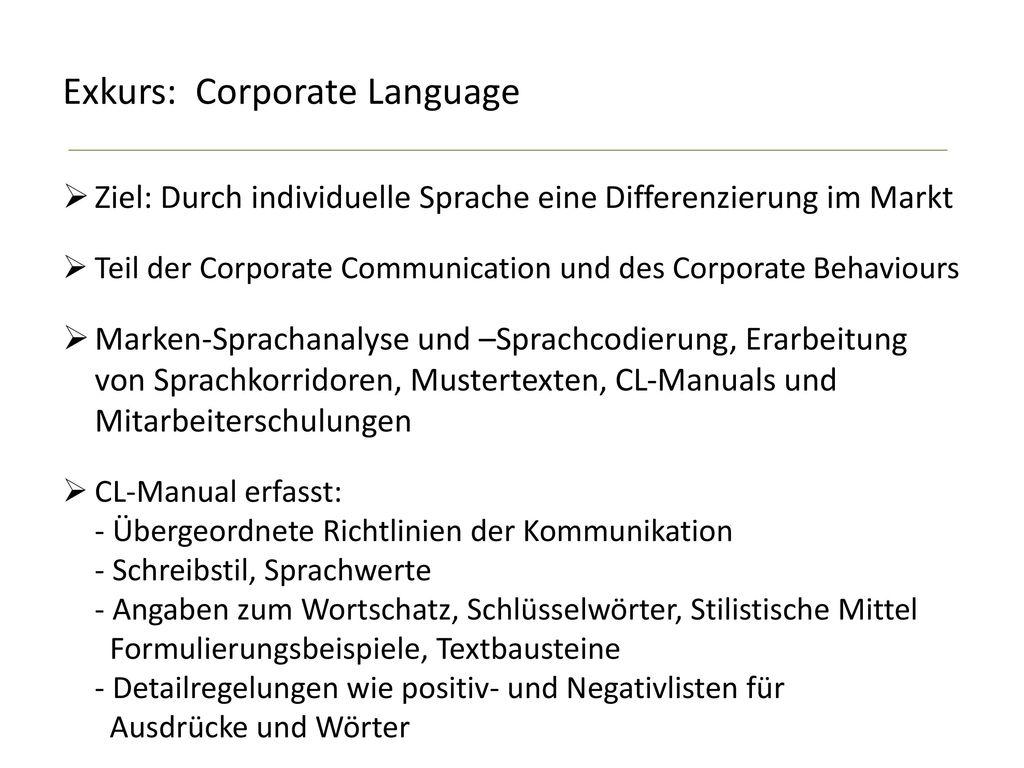 Exkurs: Corporate Language