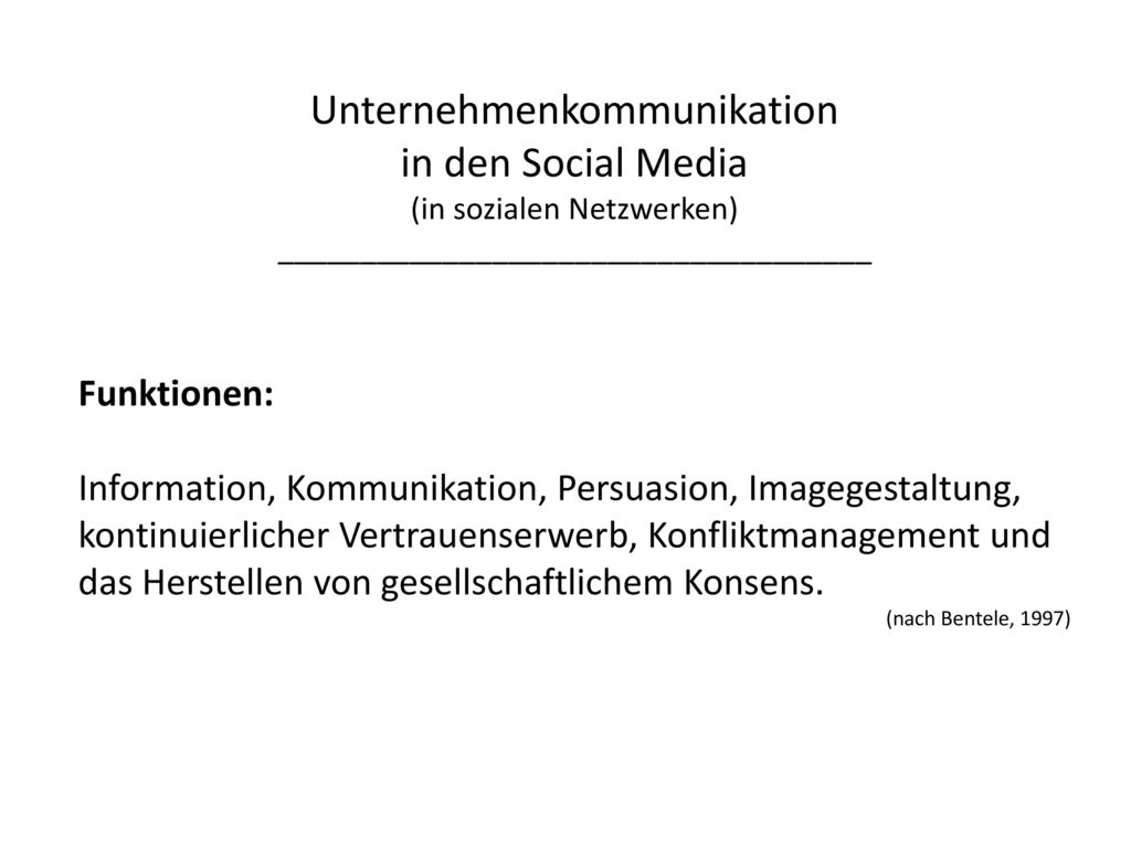 Unternehmenkommunikation in den Social Media (in sozialen Netzwerken)