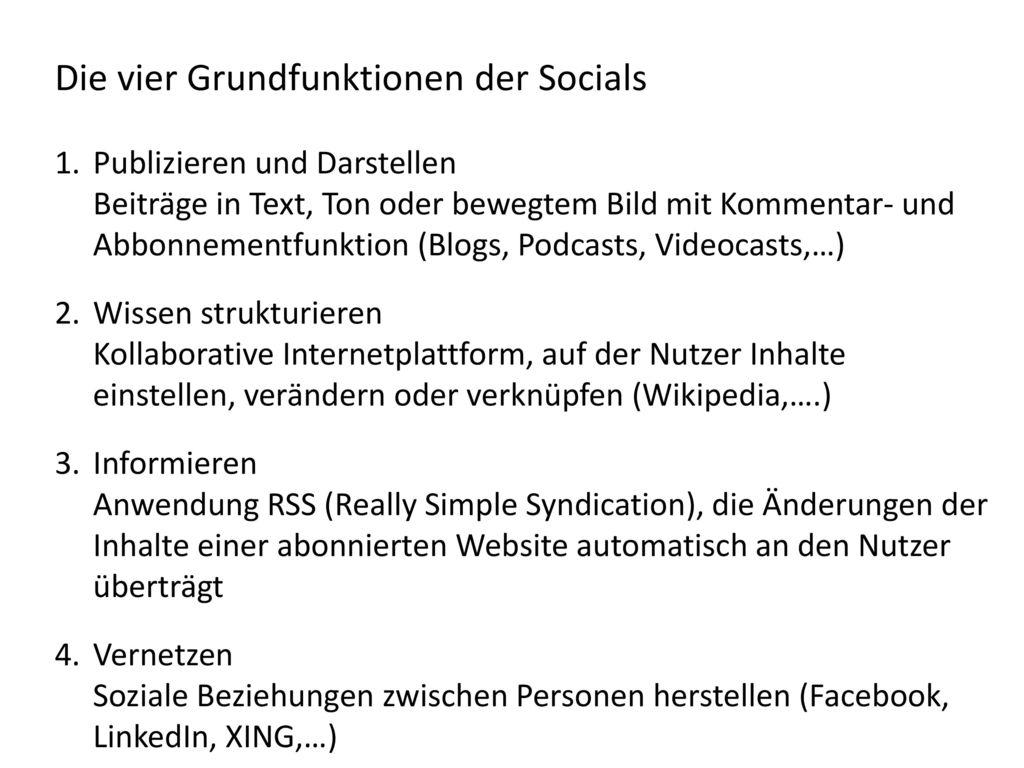 Die vier Grundfunktionen der Socials