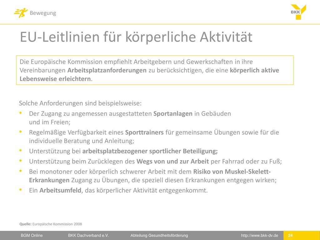 EU-Leitlinien für körperliche Aktivität