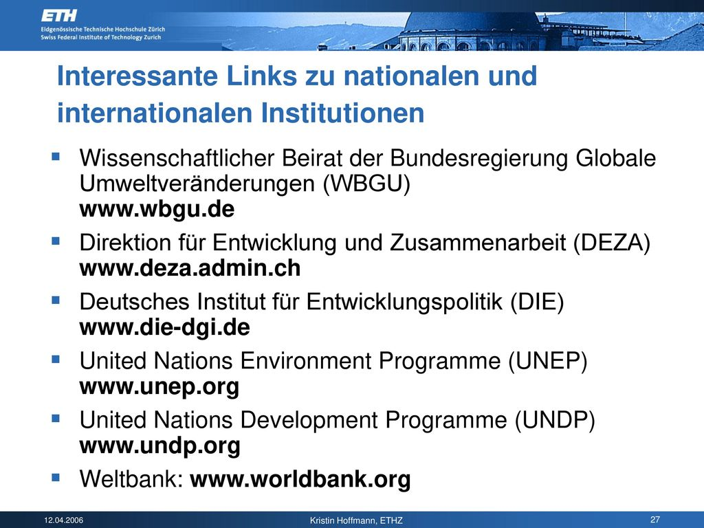 Interessante Links zu nationalen und internationalen Institutionen