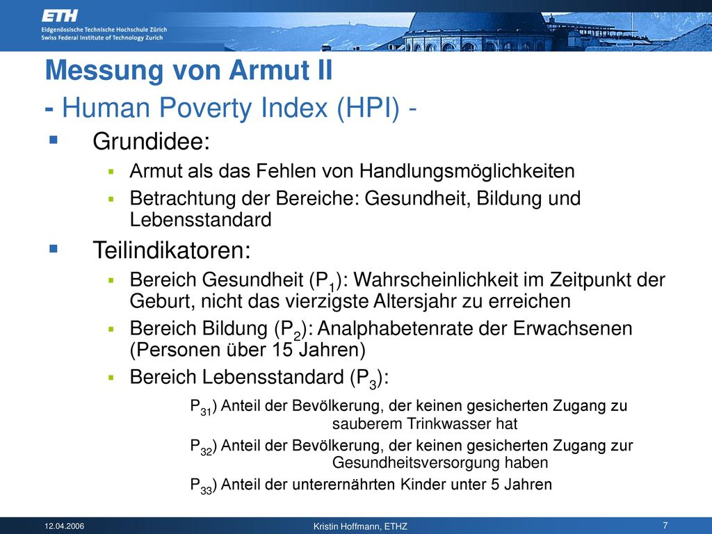Messung von Armut II - Human Poverty Index (HPI) -
