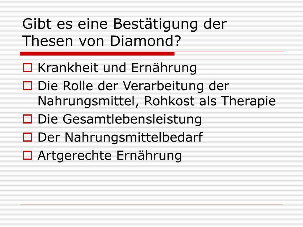 Gibt es eine Bestätigung der Thesen von Diamond