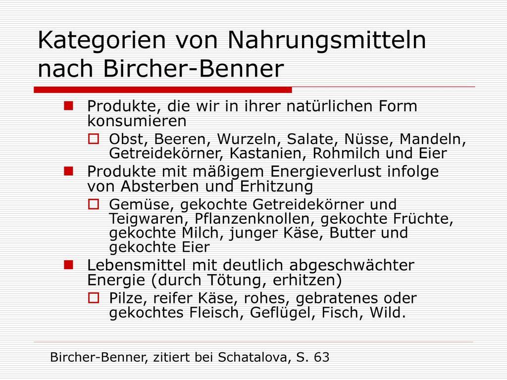 Kategorien von Nahrungsmitteln nach Bircher-Benner