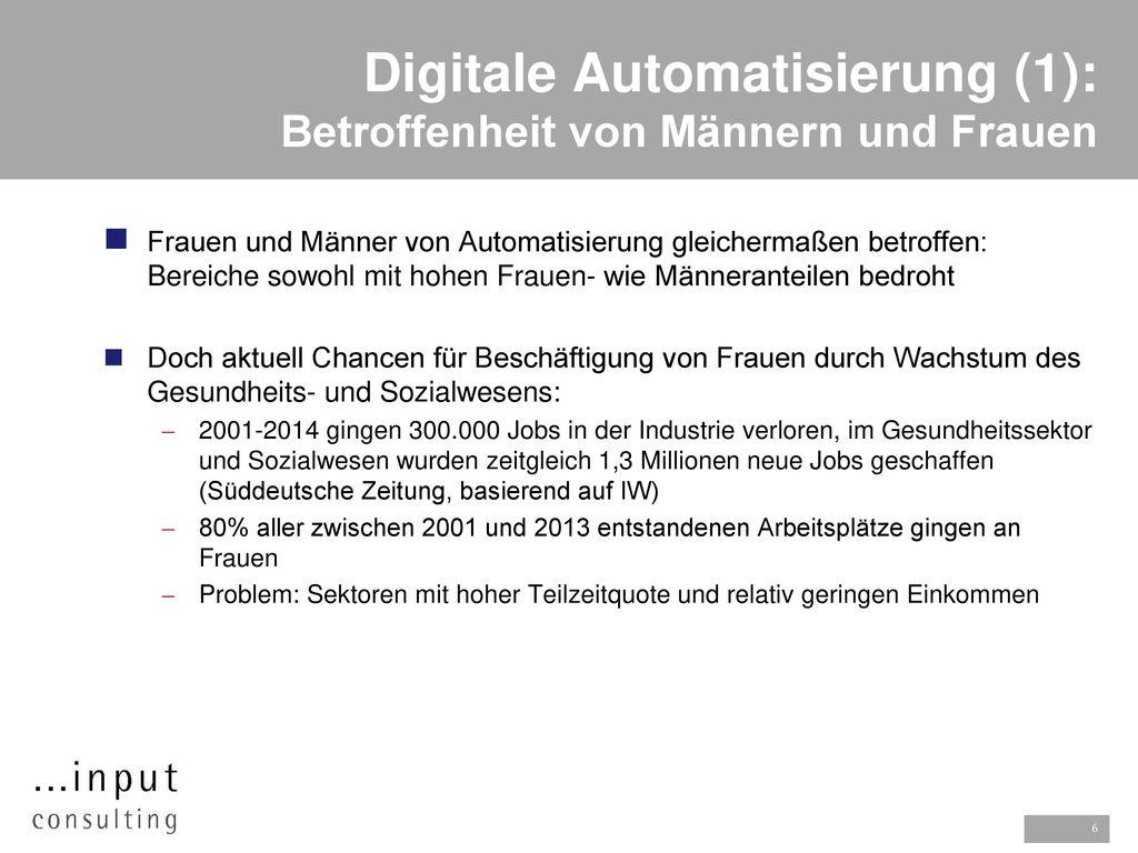 Digitale Automatisierung (1): Betroffenheit von Männern und Frauen