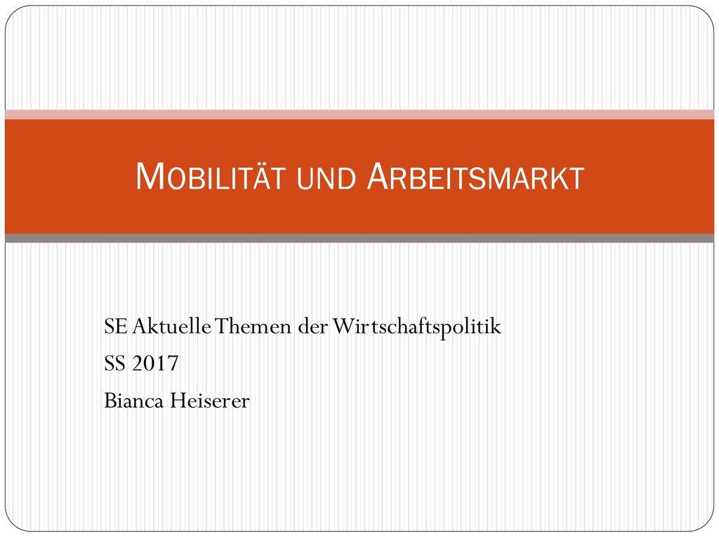 Mobilität und Arbeitsmarkt